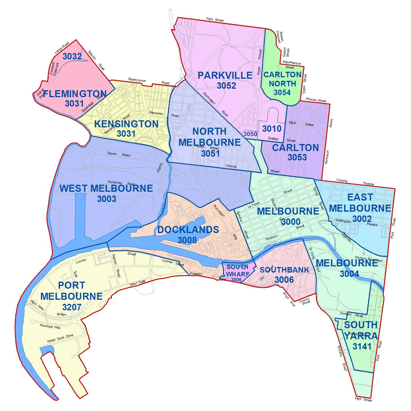 Các khu vực thành phố Melbourne